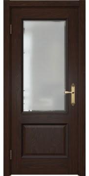 Межкомнатная дверь, SK002 (шпон дуб коньяк, остекленная)