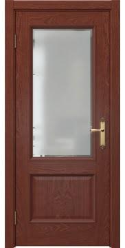 Межкомнатная дверь SK002 (шпон красное дерево / стекло рамка) — 5031