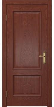 Межкомнатная дверь, каркас из массива сосны и МДФ, SK002 (шпон красное дерево, глухая)