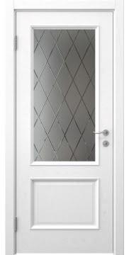 Межкомнатная дверь, SK002 (шпон ясень белый, стекло с гравировкой)