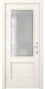 Межкомнатная дверь SK002 (шпон ясень слоновая кость / стекло с фацетом) — 5033