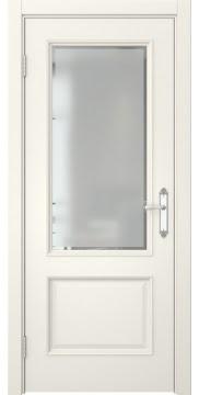 Межкомнатная дверь, SK002 (эмаль слоновая кость, стекло с фацетом)