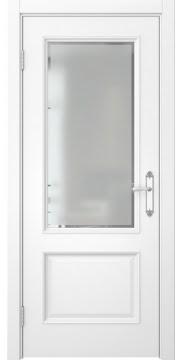 Дверь межкомнатная SK002 (эмаль белая, остекленная)
