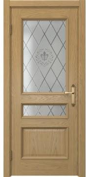 Межкомнатная дверь, SK003 (шпон дуб натуральный, остекленная)