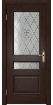 Межкомнатная дверь, SK003 (шпон дуб коньяк, остекленная)