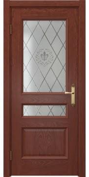 Межкомнатная дверь, SK003 (шпон красное дерево, остекленная)