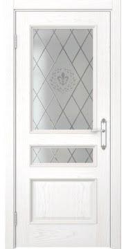 Дверь SK003 (шпон белый ясень, остекленная)