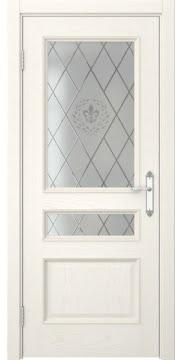 Межкомнатная дверь с каркасом из массива сосны и МДФ, SK003 (шпон ясень слоновая кость, остекленная)