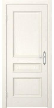Дверь классика, МДФ SK003 (шпон ясень слоновая кость, глухая)