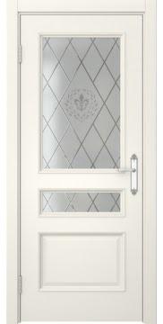 Межкомнатная дверь, SK003 (эмаль слоновая кость, остекленная)