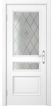 Межкомнатная дверь, SK003 (эмаль белая, остекленная)