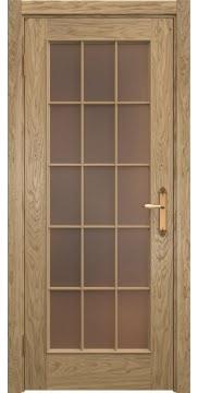 Дверь SK005 (шпон дуб натуральный, стекло бронзовое)