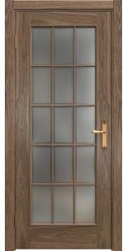 Межкомнатная дверь, SK005 (шпон американский орех, стекло рамка)