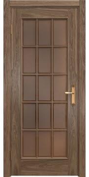 Межкомнатная дверь SK005 (шпон американский орех / стекло бронзовое рамка) — 5817