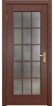 Межкомнатная дверь SK005 (шпон красное дерево / стекло рамка) — 5045