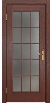 Межкомнатная дверь SK005 (шпон красное дерево / матовое стекло) — 5685