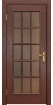 Межкомнатная дверь, SK005 (шпон красное дерево, стекло бронзовое)