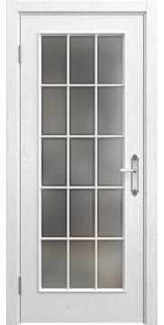 Межкомнатная дверь SK005 (шпон ясень белый / стекло рамка) — 5046