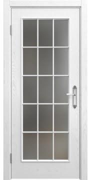 Межкомнатная дверь SK005 (шпон ясень белый / матовое стекло) — 5699