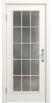Дверь классика с английской решеткой SK005 (эмаль слоновая кость, остекленная)