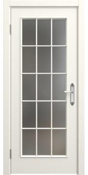 Межкомнатная дверь, SK005 (эмаль слоновая кость, матовое стекло)