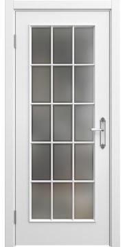 Дверь классика с английской решеткой SK005 (эмаль белая, остекленная)