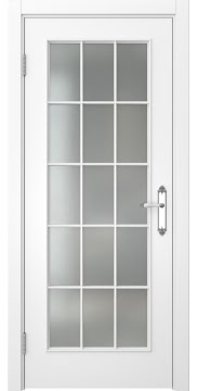Межкомнатная дверь, SK005 (эмаль белая, матовое стекло)
