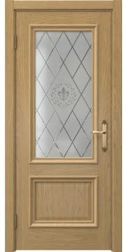 Межкомнатная дверь SK006 (натуральный шпон дуба / стекло с гравировкой) — 5051
