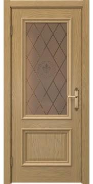 Межкомнатная дверь SK006 (натуральный шпон дуба / стекло бронзовое с гравировкой) — 5050