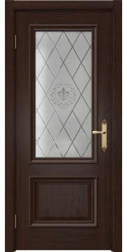 Межкомнатная дверь SK006 (шпон дуб коньяк / стекло с гравировкой) — 5054