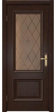 Межкомнатная дверь SK006 (шпон дуб коньяк / стекло бронзовое с гравировкой) — 5053