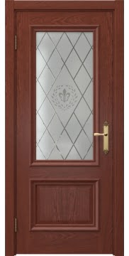 Межкомнатная дверь SK006 (шпон красное дерево / стекло с гравировкой) — 5057