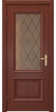 Межкомнатная дверь SK006 (шпон красное дерево / стекло бронзовое с гравировкой) — 5056