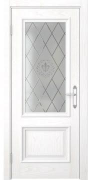 Межкомнатная дверь SK006 (шпон ясень белый / стекло с гравировкой) — 5066