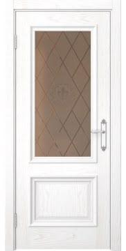 Межкомнатная дверь SK006 (шпон ясень белый / стекло бронзовое с гравировкой) — 5065