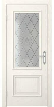 Межкомнатная дверь, SK006 (шпон ясень слоновая кость, остекленная)
