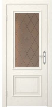 Межкомнатная дверь SK006 (шпон ясень слоновая кость / стекло бронзовое с гравировкой) — 5068