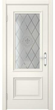 Межкомнатная дверь, SK006 (эмаль слоновая кость, остекленная)
