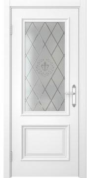 Межкомнатная дверь SK006 (белая эмаль / стекло с гравировкой) — 5060