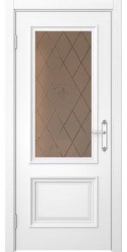 Межкомнатная дверь SK006 (белая эмаль / стекло бронзовое с гравировкой) — 5059