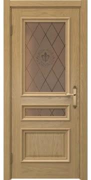 Межкомнатная дверь SK007 (натуральный шпон дуба / стекло бронзовое с гравировкой) — 5071