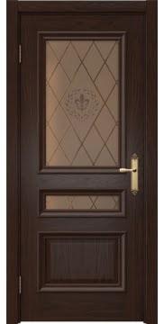 Межкомнатная дверь SK007 (шпон дуб коньяк / стекло бронзовое с гравировкой) — 5074