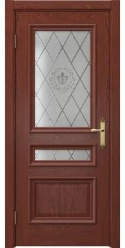 Межкомнатная дверь SK007 (шпон красное дерево / стекло с гравировкой) — 5078