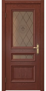 Межкомнатная дверь SK007 (шпон красное дерево / стекло бронзовое с гравировкой) — 5077