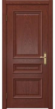 Межкомнатная дверь, SK007 (шпон красное дерево, глухая)
