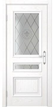 Межкомнатная дверь SK007 (шпон ясень белый / стекло с гравировкой) — 5087