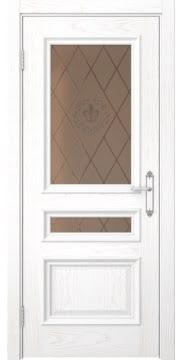 Межкомнатная дверь SK007 (шпон ясень белый / стекло бронзовое с гравировкой) — 5086