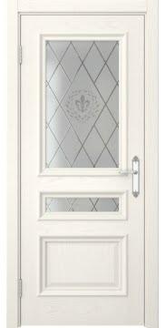 Межкомнатная дверь, SK007 (шпон ясень слоновая кость, остекленная)