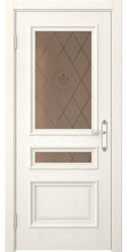 Межкомнатная дверь SK007 (шпон ясень слоновая кость / стекло бронзовое с гравировкой) — 5089