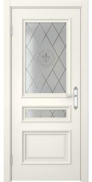 Межкомнатная дверь SK007 (эмаль слоновая кость / стекло с гравировкой) — 5084